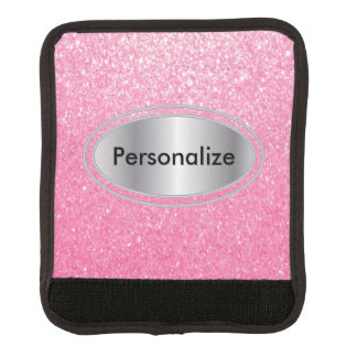 Glittery Pink Bling Personalize Luggage Handle Wrap