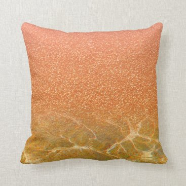 Beach Themed Glittery Pink Coral Sea and Sand Pillow