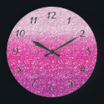 """Glittery Pink Ombre Large Clock<br><div class=""""desc"""">Gradient shades of pink with a cool sparkle effect</div>"""