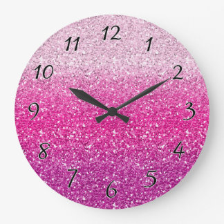 Glittery Pink Ombre Large Clock