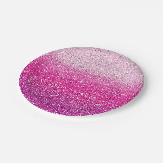 Glittery Pink Ombre Paper Plate