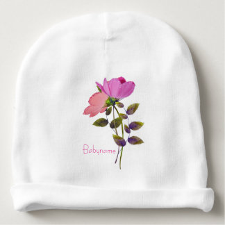 Glittery Pink & Peach Flowers Personalized Baby Beanie