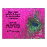 Glittery Pink Peacock Birthday Invitation