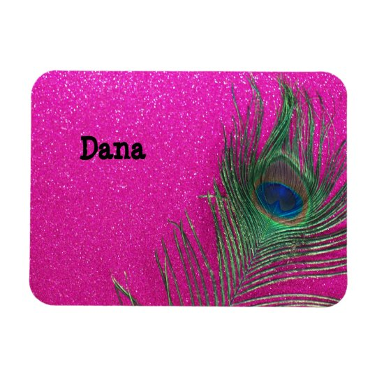 Glittery Pink Peacock Feather Magnet