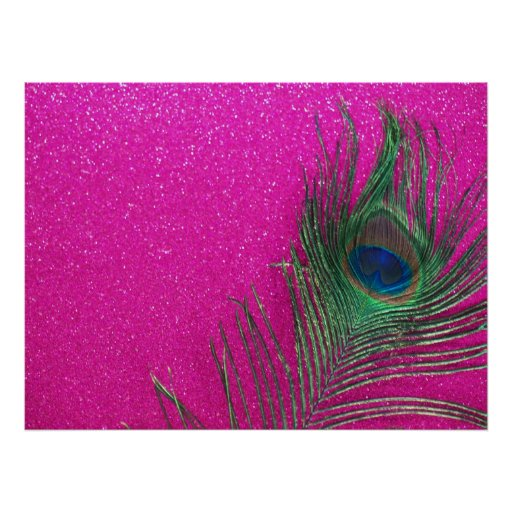 Glittery Pink Peacock Feather Print