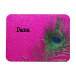 Glittery Pink Peacock Feather Vinyl Magnets