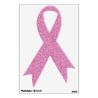 Glittery Pink Ribbon Wall Skins