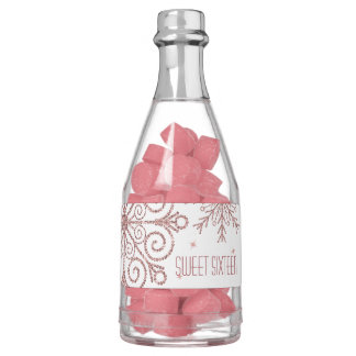 Glittery Pink Snowflakes Sweet Sixteen Birthday Chewing Gum