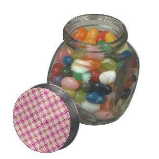 Glittery Pink & Yellow Plaid Glass Jars