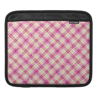 Glittery Pink & Yellow Plaid iPad Sleeve