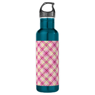 Glittery Pink & Yellow Plaid Water Bottle