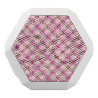 Glittery Pink & Yellow Plaid White Bluetooth Speaker