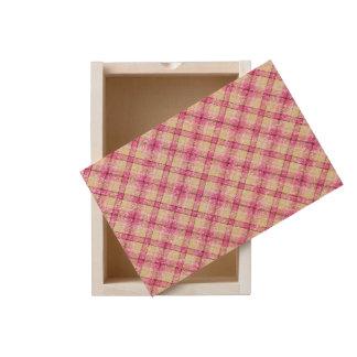 Glittery Pink & Yellow Plaid Wooden Keepsake Box
