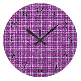 Glittery Purple Awareness Plaid Large Clock