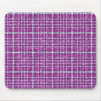 Glittery Purple Awareness Plaid Mouse Pad