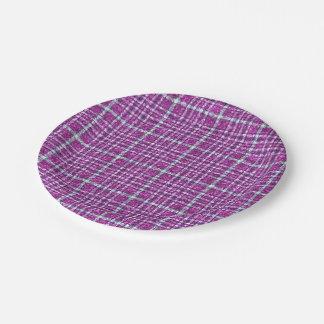 Glittery Purple Awareness Plaid Paper Plate