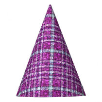 Glittery Purple Awareness Plaid Party Hat