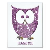 Glittery Purple Bling Owl Flat Thank You  Notes Card
