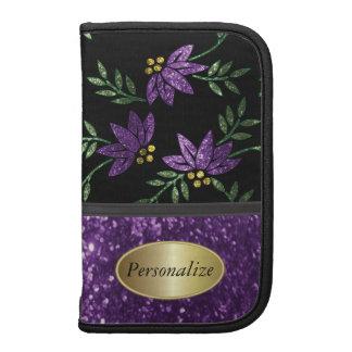 Glittery Purple Flower Pattern Folio Smartphone Planner