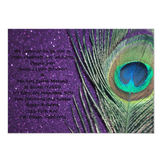 Glittery Purple Peacock Wedding Card