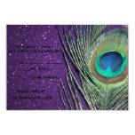 Glittery Purple Peacock Wedding RSVP Cards Personalized Invitation