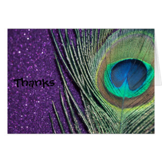 Glittery Purple Peacock Wedding Thank You Cards