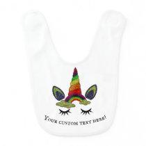 Glittery Rainbow Unicorn Baby Bib