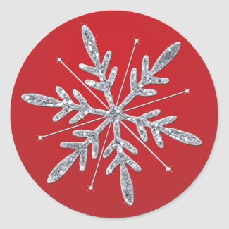 Glittery Red and Silver Snowflake Sticker sticker