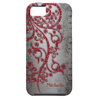 Glittery Red Black Silver Personalized iPhone SE/5/5s Case