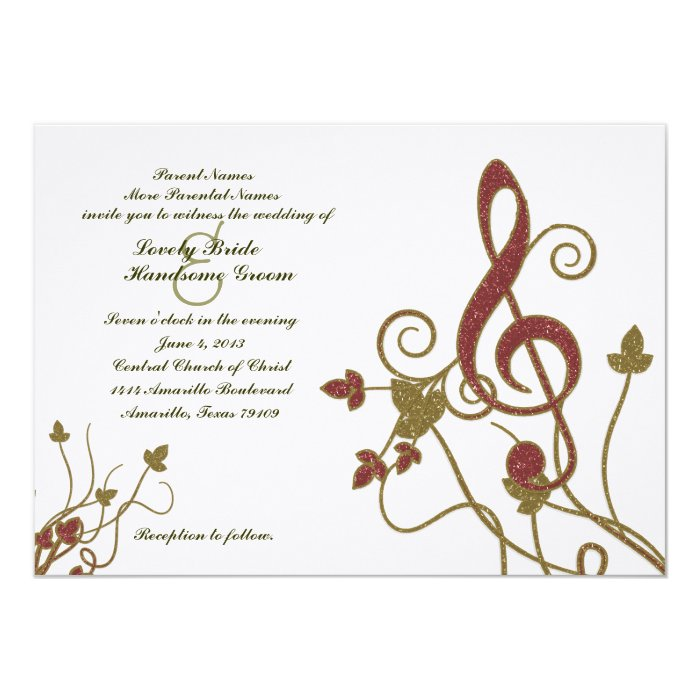 Glittery Red Gold White Music Wedding Invitation