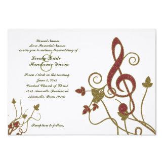 "Glittery Red Gold White Music Wedding Invitation 5"" X 7"" Invitation Card"