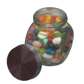 Glittery Red Stars on Black Jelly Belly Candy Jar