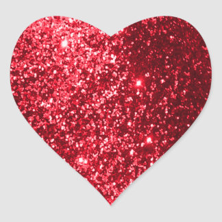 Glittery Red Heart Stickers