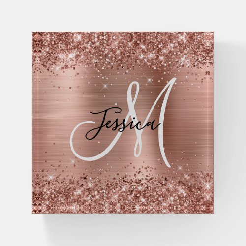 Glittery Rose Gold Foil Black and White Monogram Paperweight