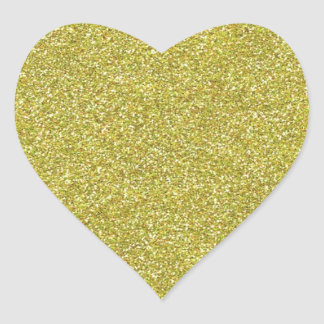 Glittery Shiny Gold Glitters Heart Sticker