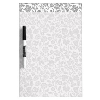 Glittery Silver Floral on White Dry Erase Board