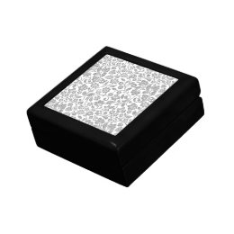 Glittery Silver Floral on White Gift Box