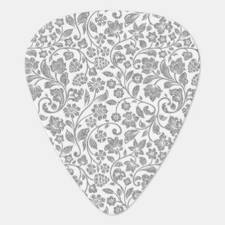 Glittery Silver Floral on White Guitar Pick