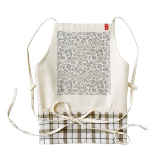 Glittery Silver Floral on White Zazzle HEART Apron