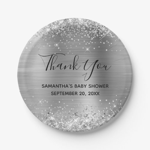 Glittery Silver Foil Baby Shower Thank You Paper Plate