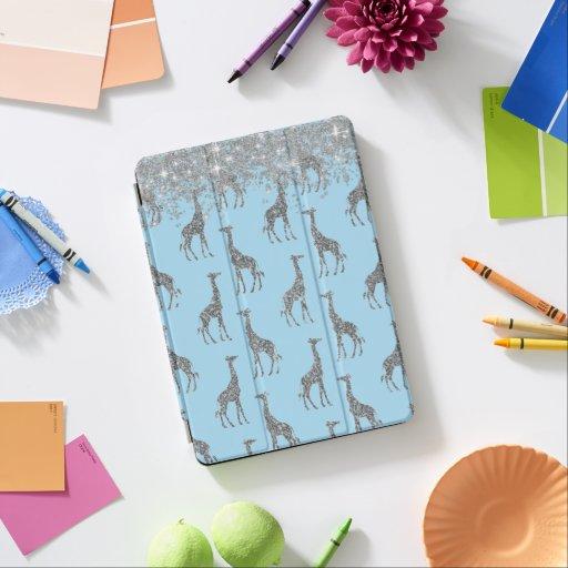 Glittery Silver Giraffe on Dreamy Blue          iPad Air Cover