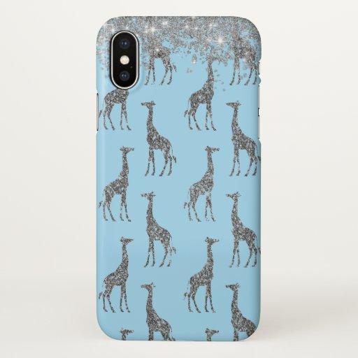 Glittery Silver Giraffe on Dreamy Blue         iPhone X Case