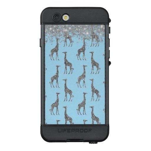 Glittery Silver Giraffe on Dreamy Blue    LifeProof NÜÜD iPhone 6s Case