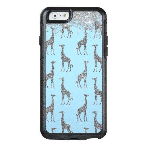 Glittery Silver Giraffe on Dreamy Blue     OtterBox iPhone 6/6s Case