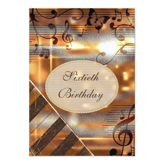 Glittery Silver & Gold Music Notes 60th Birthday Invitation