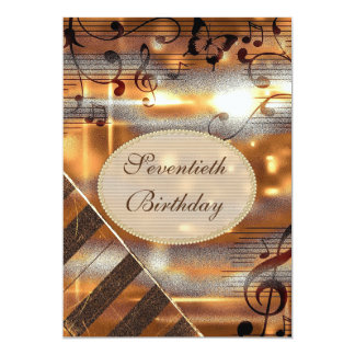 Glittery Silver & Gold Music Notes 70th Birthday Card