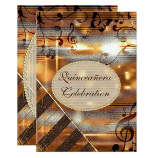 Glittery Silver & Gold Music Notes Quinceañera Card