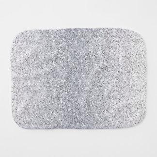 Glittery Silver Ombre Baby Burp Cloth