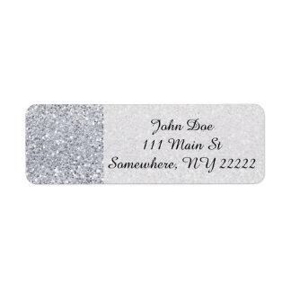Glittery Silver Ombre Label