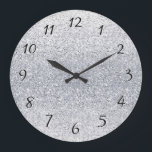 "Glittery Silver Ombre Large Clock<br><div class=""desc"">Shades of silver sparkly bits - perfect for weddings &amp; anniversaries.</div>"